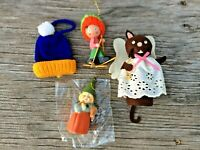 Lot of 4 Misc Christmas Ornaments: Gnome, Wood Skier, Mouse Angel, Beanie