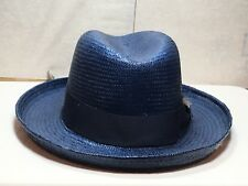 With Tag Stacy Adams SA 371 Godfather Men's Straw Summer Hat White Navy BLK S Navy