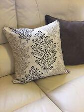 Cream Grey Floral Motive 43cm X 43cm Cushion With Hollowfibre Bounce Back Inner
