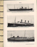 1927 PRINT ~ SHIPS ~ S.S MANCHESTER COMMERCE RMS MAJESTIC ASTURIAS