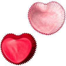 Red Heart Shaped Cupcake Cases Valentines Heart Love Baking