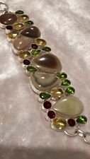 Handcrafted Agate  peridot And Citrine Bracelet
