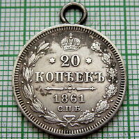 PENDANT MADE FROM RUSSIA ALEKSANDR III 1891 СПБ 20 KOPEKS SILVER HIGH GRADE COIN