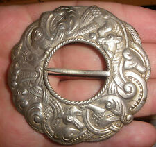 Huge antique Norwegian Silver 830S dragon dragestil pin brooch