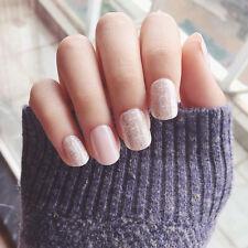 New 24pcs Shinning Star Short Fake Nails Glitter Nude Nail Tips with Design Gift