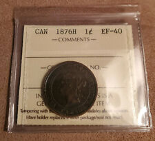 Rare Canada 1876 1 Large Cent Penny Queen Victoria Graded EF-40 Vintage Coin
