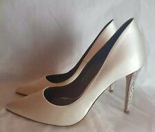 GINA Cream Satin Court Bridal Crystal Strass Swarovski Heel Pumps UK4 EU37 £595