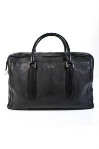Smythson of Bond Street Mens Large Silver Tone Black Leather Briefcase Bag