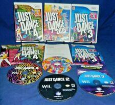 4 Wii; Just Dance 3, Just Dance 4,Just Dance 2016, w/ Manuals, Just Dance 2, VG