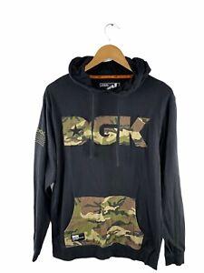 DGK Hoodie Pullover Mens Size M Black Camo Long Sleeve Logo Front Pocket Jumper