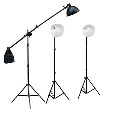 3 New Photo Video Studio Continuous Sparkler Dome Light Kit 2M Stand Boom Arm UK