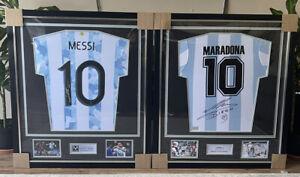Maradona & Messi signed Argentina Legend Dual Classic Jersey Frames! Icons!