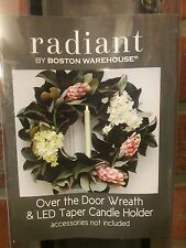 OVER THE DOOR WREATH Holiday Boston Warehouse LED CANDLE HOLDER BLACK METAL NEW