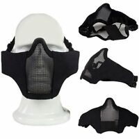 Tactical Airsoft Hunting CS Paintball Metal Mesh Half Face Mask Goggles Black