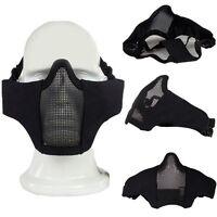 Tactical Airsoft Hunting CS Paintball Metal Mesh Half Face Mask Goggles Black