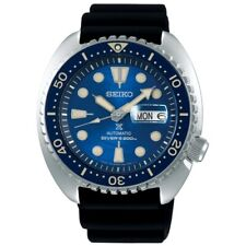 NEW SEIKO PROSPEX DIVERS KING TURTLE RUBBER STRAP BLUE DIAL CYCLOPS DATE SRPE07