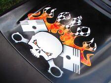 PistonHead Hood decal  Torched Checkered Flag version lawn mower racing Deere