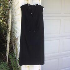 NWT Talbots Pretty Black Wool Blend Fully Lined Sleeveless V-Neck Dress 18W 2X