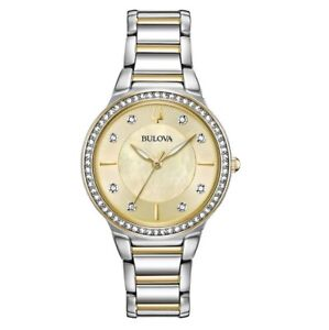 Bulova 98L248 Ladies Crystal Accented Stainless Steel Two Tone Watch Retail $280