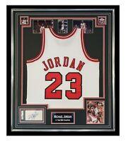 Signed Michael Jordan Jersey - Framed Display - 6 Time NBA Champion PSA DNA +COA