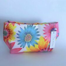 Le Kikke Floral Zip Top Cosmetic Bag Makeup Pouch ~ Pink Yellow Floral Print NWT