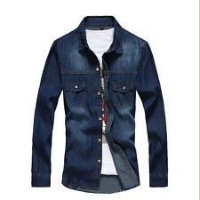 Fashion Men Casual Slim Fit Denim Shirt Casual Jeans Luxury Stylish Wash Shirts