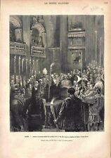 Rome Lecture du Procès-Verbal Mort de Pie IX Chapelle Saint-Pierre GRAVURE 1878