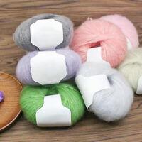AU_ IC- 2Pcs Solid Color Mohair Hand Knitting Woolen Yarn DIY Scarf Crochet Thre