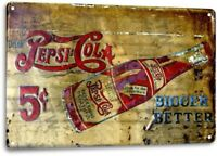 Pepsi Cola 5 Cent Soda Pop Ad Vintage Retro Store Wall Decor Bar Metal Tin Sign