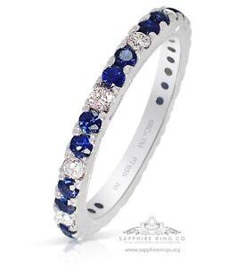 Platinum Sapphire & Diamond Wedding Band, 0.80 tcw Custom Natural Sapphire Band