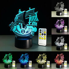 Sailboat Thousand Sunny 3D LED Table Lamp Reading Night Light Remote Control