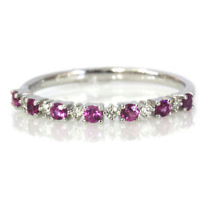 0.3 ctw Natural Pink Sapphire Diamond Solid 14k White Gold Alternating Ring 2 MM