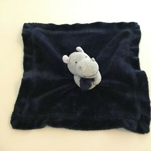 Carters Hippo Baby Lovey Plush Rattle Gray Navy Blue Satin Holding Blanket