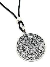Vegvisir Viking Icelandic Magical Stave Pendant Rune Compass Bead Cord Necklace