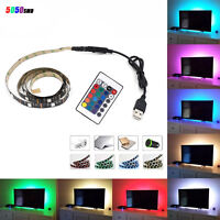 5V 5050 60SMD/M RGB LED Strip Lamp Bar TV Back Lighting Kit+USB Remote Control