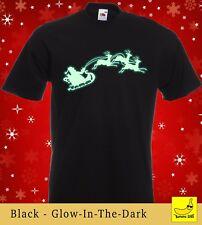 Santa's Sleigh Christmas T-Shirt Glow In The Dark Xmas Kids Stocking Filler Gift
