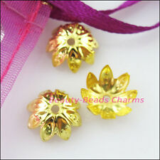 70Pcs Lotus Flower End Bead Caps Connectors 10mm Gold Silver Bronze Plated