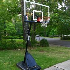 "Spalding 54"" Portable Basketball System Adjustable Hoop Backboard Angled Pole"