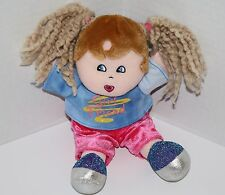 "Dan Dee Plush DOLL 9"" Girl Friend Blonde Yarn Pigtails Brown Hair Glitter Shoes"