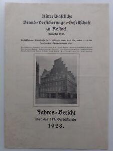 C4561/ Rostock 1928 Jahres-Bericht Brand- Versicherungs-Gesellschaft