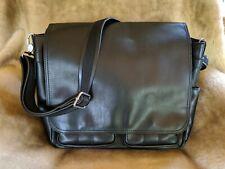 ALDO Black Pebbled Faux Leather FLAP MESSENGER BAG Laptop Office SOFT Excellent