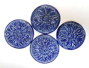 FLORAL MEDALLION TILES Handmade Ceramic Craft / Mosaic Tiles Cobalt Blue 4 pcs