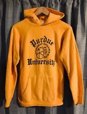 Vintage 80s Champion PURDUE UNIVERSITY Yellow Gold Hoodie Sweatshirt ~ Medium