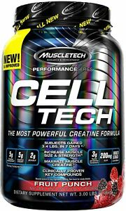MuscleTech Cell-Tech Creatine and Muscle Recovery Powder Fruit Punch 3 lbs