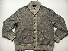 $195 Polo Ralph Lauren Grey Marl Cotton Shawl Sweater Cardigan Jacket-MEN-L