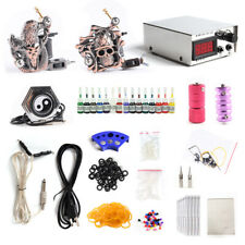 Complete Tattoo Kit 2x Tattoo Machine Gun 15x Color Inks Power Supply TK-02