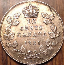 1931 CANADA SILVER 10 CENTS DIME GOLDEN BEAUTY IN MAGNIFICENT CONDITION !