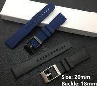 RUBBER STRAP PRO DIVER BAND FIT FOR BREITLING 20MM BLACK BLUE
