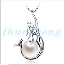 925 Sterling Silver Freshwater Pearl Mermaid Pendant fashion Necklace