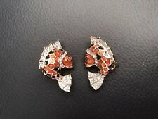 Judith Leiber Fantastic Fish Enamel Crystal Gold Tone Clip Earrings